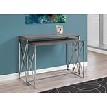 Monarch Console Nesting Tables Grey with Chrome Metal (I 3227)