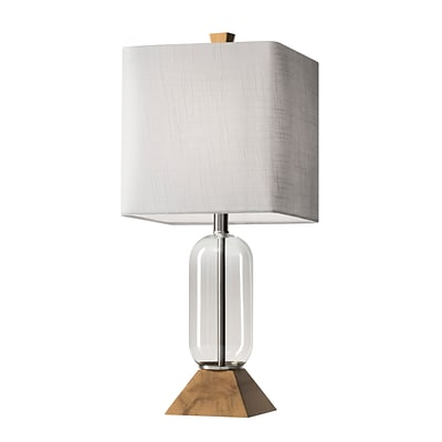 Adesso Kennedy Table Lamp, Clear Glass/Natural Birch Wood (1528-12)