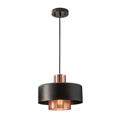 Adesso Bradbury Pendant, Black & Brushed Copper (6047-20)