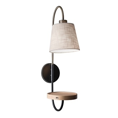 Adesso Jeffrey Wall Lamp, Black & Antique Brass (3406-21)