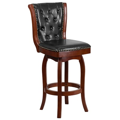 30 High Cherry Wood Barstool with Black Leather Swivel Seat [TA-240130-CHY-GG]