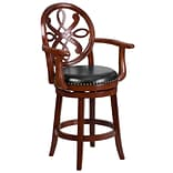 26 High Cherry Wood Counter Height Stool with Arms and Black Leather Swivel Seat [TA-550226-CHY-GG