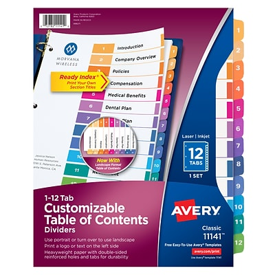 Avery Ready Index Customizable Table of Contents Numeric Dividers, 12-Tab, Multicolor (11141)