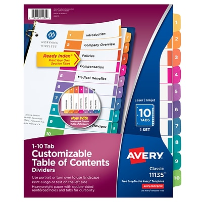 Avery Ready Index Customizable Table of Contents Paper Dividers, 10-Tab, Multicolor, Set (11135)