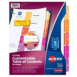 Avery Ready Index Customizable Table of Contents Paper Dividers, 5-Tab, Multicolor, Set (11131)