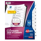 Avery Ready Index Customizable Table of Contents Numeric Dividers, 10-Tab, White, 1 Set (11134)