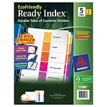 Avery EcoFriendly Preprinted Dividers, 5-Tab, White, 3/Pack (11080)