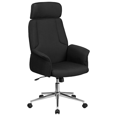 High Back Black Fabric Executive Swivel Office Chair with Chrome Base [CH-CX0944H-BK-GG]