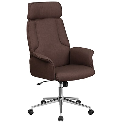 High Back Brown Fabric Executive Swivel Office Chair with Chrome Base [CH-CX0944H-BN-GG]
