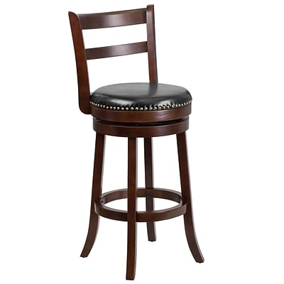 30 Cappuccino Wood Barstool with Black Leather Swivel Seat [TA-16029-CA-GG]