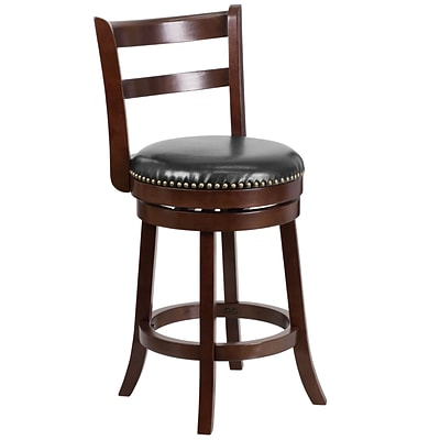 26 Cappuccino Wood Counter Height Stool with Black Leather Swivel Seat [TA-16026-CA-GG]