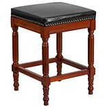 26 High Backless Light Cherry Wood Counter Height Stool with Black Leather Seat [TA-4102A-26-LC-GG