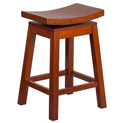 26 High Saddle Seat Light Cherry Wood Counter Height Stool with Auto Swivel Seat Return [TA-SADDLE-LC-2-GG]