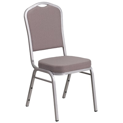 HERCULES Series Crown Back Stacking Banquet Chair with Gray Dot Fabric and 2.5 Thick Seat - Silver Frame [FD-C01-S-6-GG]
