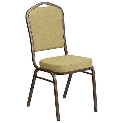 HERCULES Series Crown Back Stacking Banquet Chair with Citron Fabric and 2.5 Thick Seat - Gold Vein Frame [FD-C01-GV-8-GG]