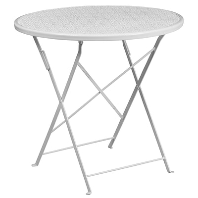 30 Round White Indoor-Outdoor Steel Folding Patio Table [CO-4-WH-GG]