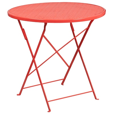 30 Round Coral Indoor-Outdoor Steel Folding Patio Table [CO-4-RED-GG]