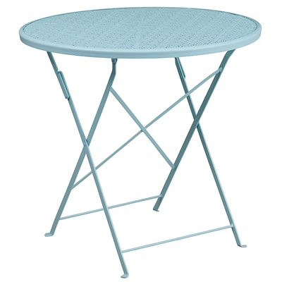 30 Round Sky Blue Indoor-Outdoor Steel Folding Patio Table [CO-4-SKY-GG]