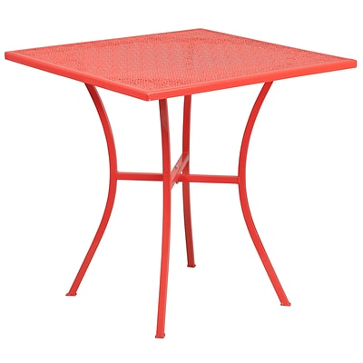 28 Square Coral Indoor-Outdoor Steel Patio Table [CO-5-RED-GG]