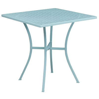 28 Square Sky Blue Indoor-Outdoor Steel Patio Table [CO-5-SKY-GG]