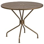 35.25 Round Gold Indoor-Outdoor Steel Patio Table [CO-7-GD-GG]