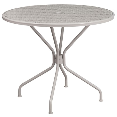 35.25 Round Light Gray Indoor-Outdoor Steel Patio Table [CO-7-SIL-GG]