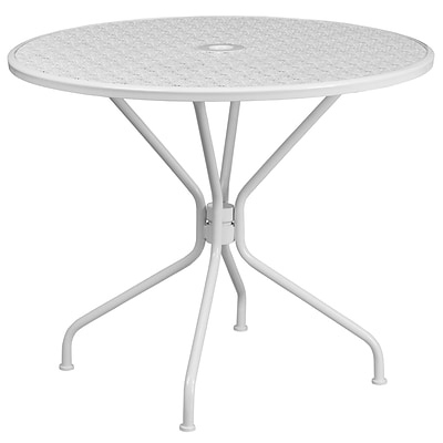 35.25 Round White Indoor-Outdoor Steel Patio Table [CO-7-WH-GG]