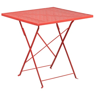 28 Square Coral Indoor-Outdoor Steel Folding Patio Table [CO-1-RED-GG]