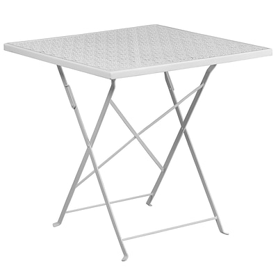 28 Square White Indoor-Outdoor Steel Folding Patio Table [CO-1-WH-GG]