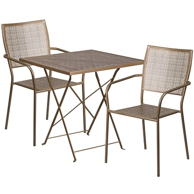 28 Square Gold Indoor-Outdoor Steel Folding Patio Table Set with 2 Square Back Chairs [CO-28SQF-02CHR2-GD-GG]