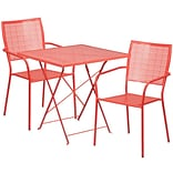 28 Square Coral Indoor-Outdoor Steel Folding Patio Table Set with 2 Square Back Chairs [CO-28SQF-0