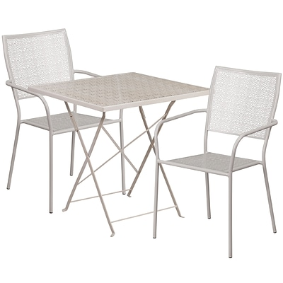 28 Square Light Gray Indoor-Outdoor Steel Folding Patio Table Set with 2 Square Back Chairs [CO-28SQF-02CHR2-SIL-GG]