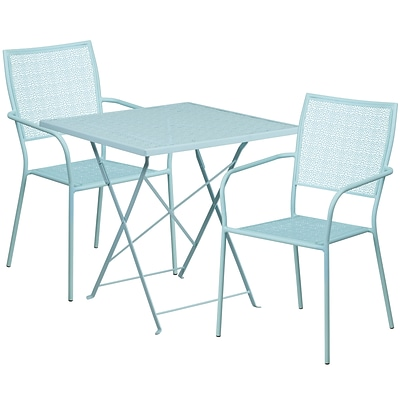 28 Square Sky Blue Indoor-Outdoor Steel Folding Patio Table Set with 2 Square Back Chairs [CO-28SQF-02CHR2-SKY-GG]