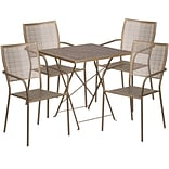 28 Square Gold Indoor-Outdoor Steel Folding Patio Table Set with 4 Square Back Chairs [CO-28SQF-02