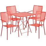 28 Square Coral Indoor-Outdoor Steel Folding Patio Table Set with 4 Square Back Chairs [CO-28SQF-0