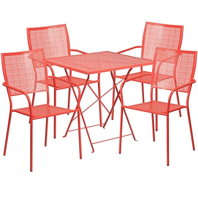 28 Square Coral Indoor-Outdoor Steel Folding Patio Table Set with 4 Square Back Chairs [CO-28SQF-02CHR4-RED-GG]