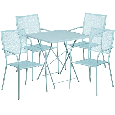 28 Square Sky Blue Indoor-Outdoor Steel Folding Patio Table Set with 4 Square Back Chairs [CO-28SQF-02CHR4-SKY-GG]