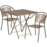28 Square Gold Indoor-Outdoor Steel Folding Patio Table Set with 2 Round Back Chairs [CO-28SQF-03C