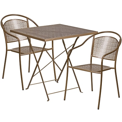 28 Square Gold Indoor-Outdoor Steel Folding Patio Table Set with 2 Round Back Chairs [CO-28SQF-03CHR2-GD-GG]