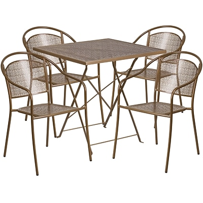 28 Square Gold Indoor-Outdoor Steel Folding Patio Table Set with 4 Round Back Chairs [CO-28SQF-03CHR4-GD-GG]