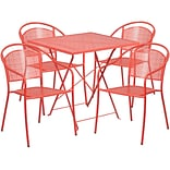 28 Square Coral Indoor-Outdoor Steel Folding Patio Table Set with 4 Round Back Chairs [CO-28SQF-03
