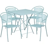28 Square Sky Blue Indoor-Outdoor Steel Folding Patio Table Set with 4 Round Back Chairs [CO-28SQF