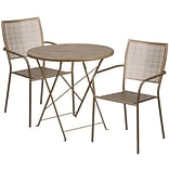 30 Round Gold Indoor-Outdoor Steel Folding Patio Table Set with 2 Square Back Chairs [CO-30RDF-02C
