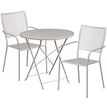30 Round Light Gray Indoor-Outdoor Steel Folding Patio Table Set with 2 Square Back Chairs [CO-30R