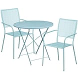 30 Round Sky Blue Indoor-Outdoor Steel Folding Patio Table Set with 2 Square Back Chairs [CO-30RDF
