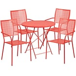 30 Round Coral Indoor-Outdoor Steel Folding Patio Table Set with 4 Square Back Chairs [CO-30RDF-02