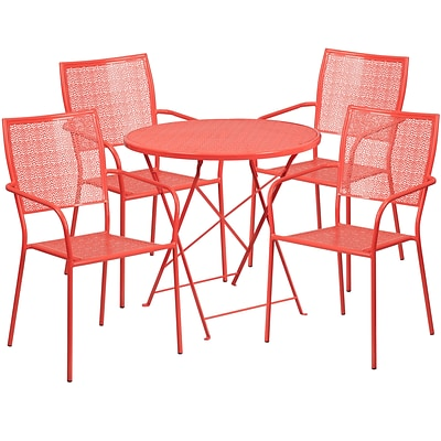 30 Round Coral Indoor-Outdoor Steel Folding Patio Table Set with 4 Square Back Chairs [CO-30RDF-02CHR4-RED-GG]