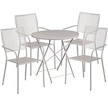 30 Round Light Gray Indoor-Outdoor Steel Folding Patio Table Set with 4 Square Back Chairs [CO-30R