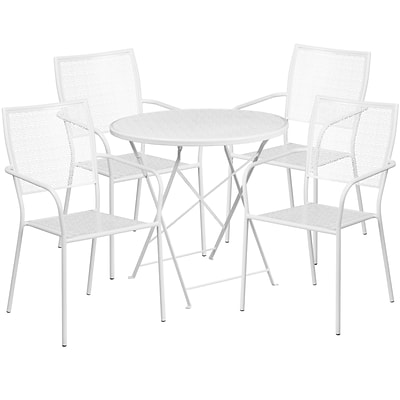 30 Round White Indoor-Outdoor Steel Folding Patio Table Set with 4 Square Back Chairs [CO-30RDF-02CHR4-WH-GG]