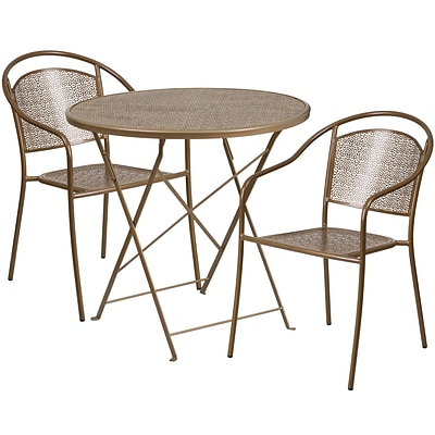30 Round Gold Indoor-Outdoor Steel Folding Patio Table Set with 2 Round Back Chairs [CO-30RDF-03CHR2-GD-GG]